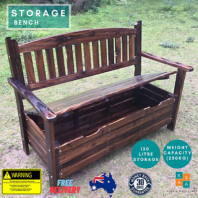 Wooden Garden Storage Box Timber Bench Chair Outdoor Furniture 2 Seat Chest