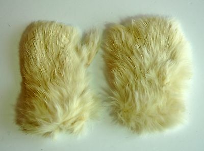 Vintage small girl's white suede & fur mittens