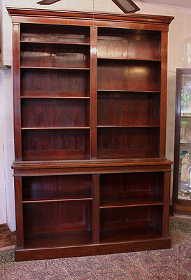 Antique Large Mahogany Library Open Bookcase Adjustable Shelves Display Cabinet