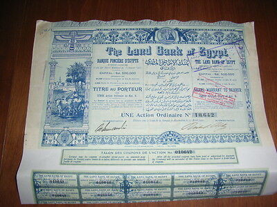 EGYPT: The Land Bank of Egypt, share warrant to bearer, 1905, very decorative