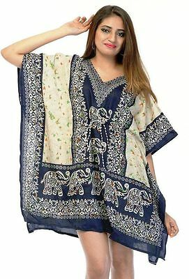 32fac80ef7 Elephant Short Kaftan, Bohemian Beach Top, Hippie Caftan Free Size Dress