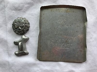 Lot of 3 Vintage Aluminum Childs Toy Animal Cookie Cutters & Pan Cooki