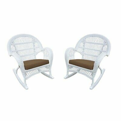 Jeco Wicker Rocker Chair in White with Brown Cushion (Set of 2)