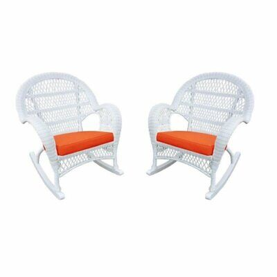 Jeco Wicker Rocker Chair in White with Orange Cushion (Set of 2)