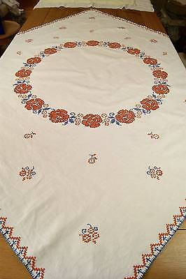 "Vintage Cotton Cross Stitch Embroidered Tablecloth 51"" X 49"" #t57"