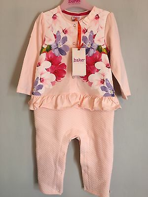 New Baby Girls Designer Ted Baker Floral Quilted Peplum Romper Suit 12-18m🌸