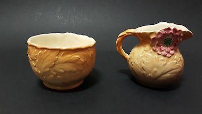 Art Deco Shorter & Son matching creamer and sugar bowl, Dahlia pattern in brown