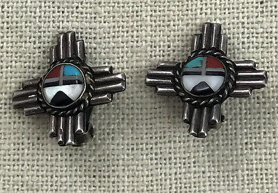 Old Fine! Zuni Pueblo Mosaic Inlay Sun Face Zia New Mexico Clip-on Earrings