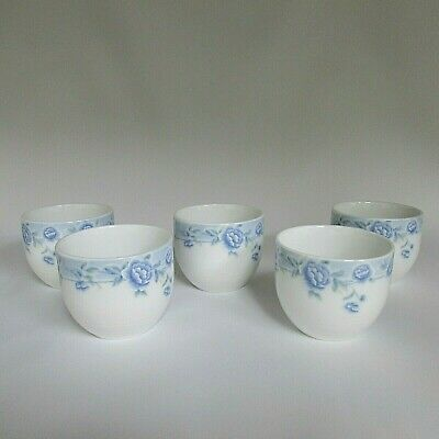 5 Cups Marked Cheng China Blue Flowers Jade Porcelain Tranquil Sipping