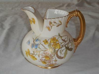 Royal Worcester Large Cleft Top Yellow Floral Jug  Pitcher #1438 Circa 1891