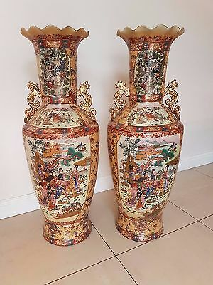A Pair of Large Beautiful and Outstanding Chinese/Oriental/Satsuma Vases