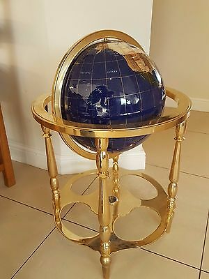 Beautiful Inlaid Gemstone Rotating Globe - Large Floor Standing with Compass