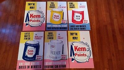 vintage Kem Fine Quality Paint cardboard store poster - two in one c. 1960