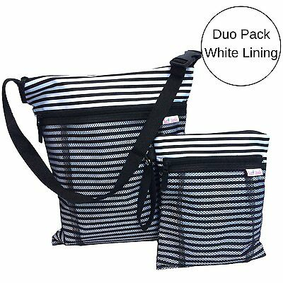 TUTTI BIMBI Travel Wet and Dry Bag - Duo Pack Large and Small black and white
