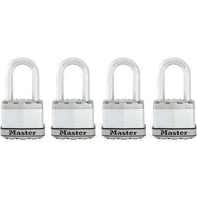 Padlock Lot Master Lock Keyed Magnum Laminated Steel with Shackle 4 Pack