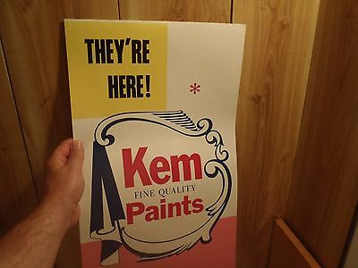 vintage Kem Fine Quality Paints cardboard store poster - two in one c. 1960