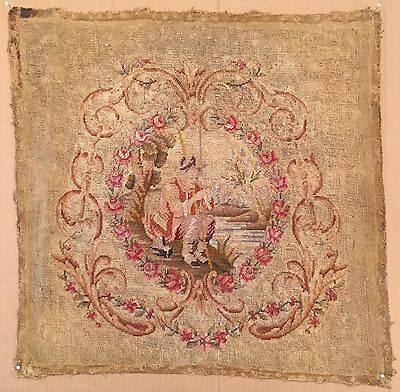 Antique Petit Point Needlepoint Figured Scenic Tapestry Man Fishing Aubusson
