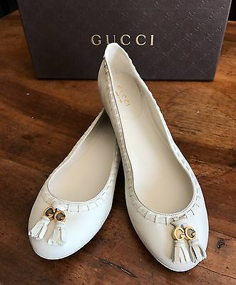 Ballerine donna GUCCI pelle bianca n. 37 suola gomma ballerinas shoes leather
