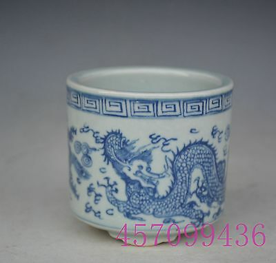 Chinese Blue and white Longfeng Porcelain Tea caddy pot Cricket jar