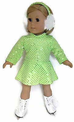 Doll Clothes fits 18 inch American Girl-Rainbow Sequin Skating Dress /& Earmuffs
