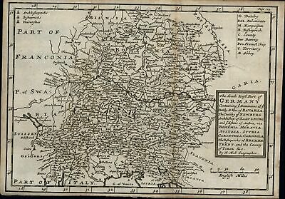 Germany Bavaria Bohemia War of Spanish Succession 1707 Moll antique battle map