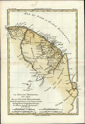 French Guyana South America c.1780 Bonne old antique beautiful color map