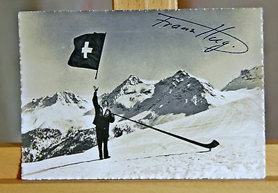 Signed photo of Franz Hug Flag Thrower 1936 Berlin Olympic Games RP postcard