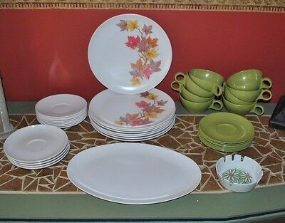Vtg 38 Melamine Dishes Cups Bowls Ashtray Camping/Kids
