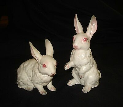 """Two MATTE WHITE BUNNIES Pink Ears and Eyes Ceramic/Satin Glaze 5"""" tall Japan"""