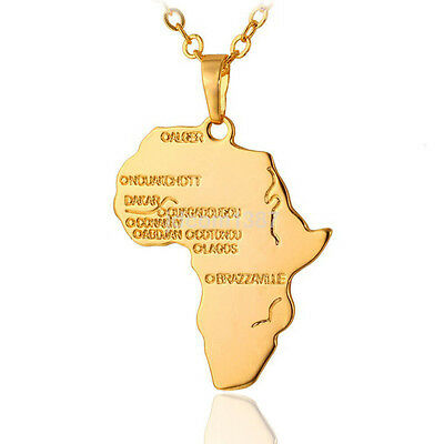 Unisex Hip Hop Gold Plated African Map Necklace Pendant Long Chain Rasta US