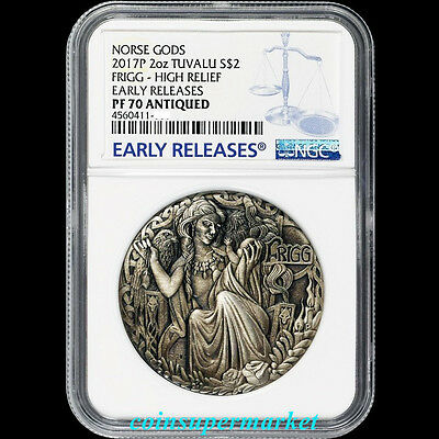 Australia 2017 Norse Goddesses Frigg Silver Antiqued High Relief Coin NGC PF70ER