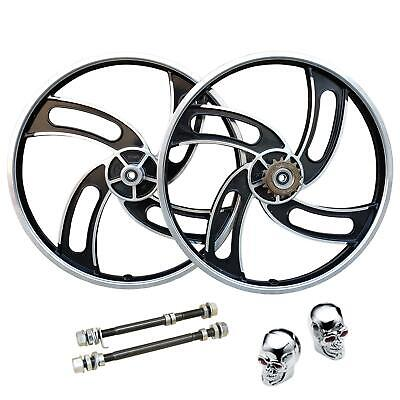 "20"" BMX Bike Mag Alloy Wheel Set 4x-Twin Spokes 10mm Axle Black Colour Tyre"