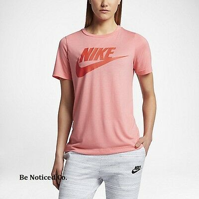 f8af6aeb7ca54e Nike Sportswear Women s Short Sleeve Top S Melon Pink Orange Shirt Casual  New