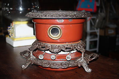 Antique Cast Iron Enamel Portable 3 Wick Cook Stove