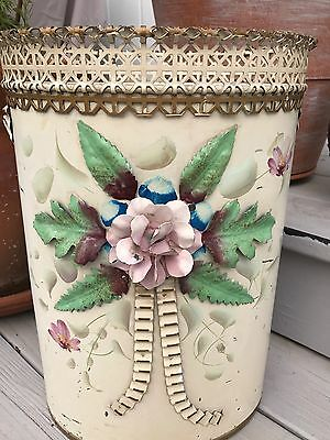 ~Vintage Hand Painted Dec-Art Metal Retro Tole Trash Can~ 3D Flower In Front~