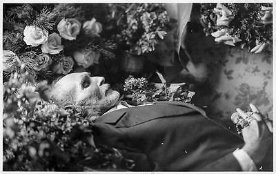 Old Photo.  Postmortem - old man - flowers, rosary