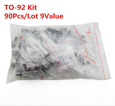 90Pcs 9 VALUES 2N3906 2N3904 2N2222 A92 Transistor Triode Assorted Kit TO-92