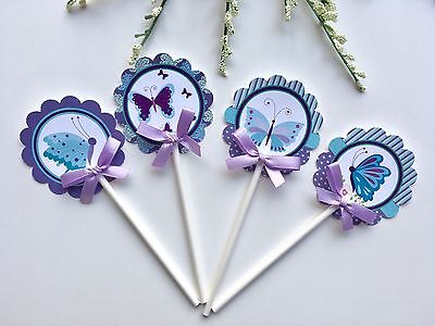 butterfly  Cupcake Toppers/ Cupcake toppers/ Purple and teal butterflies theme