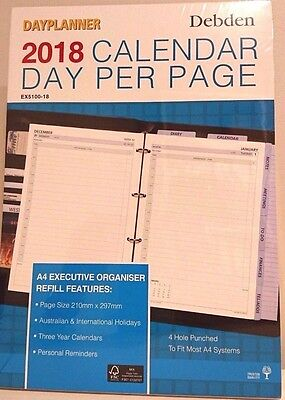 2018 Executive Dayplanner Refill Day to Page EX5100-18 (4-Ring) 210x297mm NEW