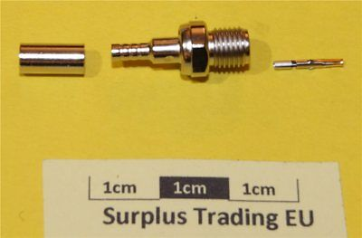 TE Straight 50Ω Free SMA Socket - Solder Pin / Crimp Braid RD316