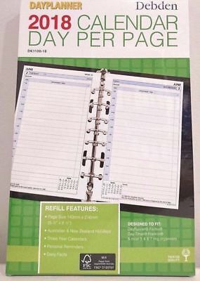 2018 Desk Dayplanner Refill Daily Dated DK1100-18 (7-Ring) 216x140mm NEW