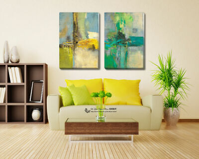 Abstract Stretched Canvas Print Framed Wall Art Home Decor Painting Yellow Green