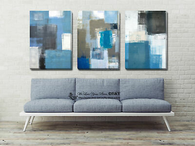 Set Of 3 Blue Stretched Canvas Prints Framed Wall Art Home Office Decor Painting