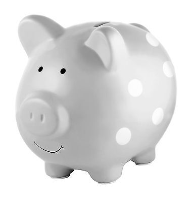 Piggy Bank Ceramic Grey Polka Dot Makes a Perfect Unique Gift for Kids