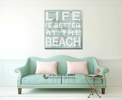 """Life is better at beach"" Stretched Canvas Print Framed Wall Art Decor Painting"