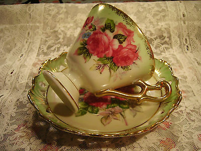 Vintage Lefton Japan Footed Reticulated China Tea Cup And Saucer Pink Roses Exc