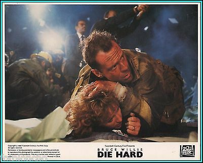 "BONNIE BEDELIA & BRUCE WILLIS in ""Die Hard"" - Original Vintage Lobby Card - 1988"