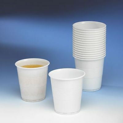 200 x White Plastic Disposable Cups 180ml Drinking Glass Vending Style Cups