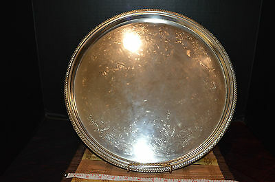 "Vintage Leonard Hong Kong Silver-Plated 15"" Round Tray With Etched Design"