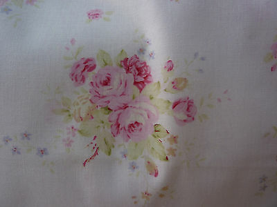 Mary Rose 3 MR151110-A Pink Roses with Mint Green Leaves on White Moire Design
